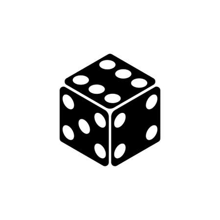 Game Dice, Casino Cube. Flat Vector Icon illustration. Simple black symbol on white background. Game Dice, Casino Cube sign design template for web and mobile UI element Çizim