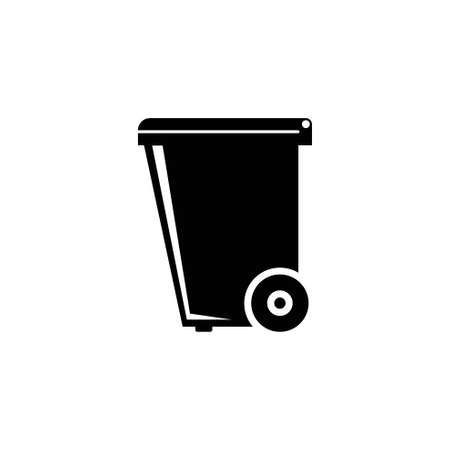 Dumpster, Plastic Tank for Trash. Flat Vector Icon illustration. Simple black symbol on white background. Dumpster, Plastic Tank for Trash sign design template for web and mobile UI element Stockfoto - 131398737