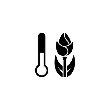 Plant Temperature, Flower Growth. Flat Vector Icon illustration. Simple black symbol on white background. Plant Temperature, Flower Growth sign design template for web and mobile UI element