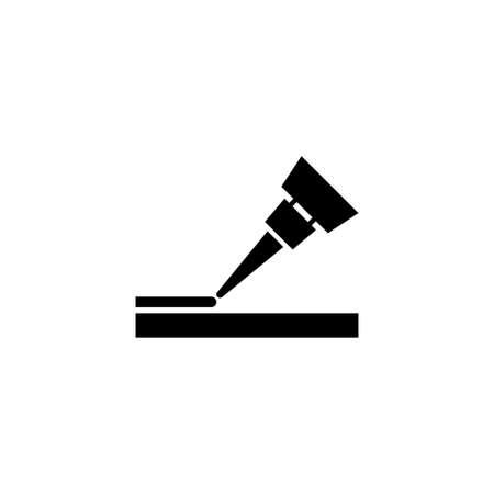 Glue Fix, Klebegel, Kleben. Flache Vektor-Icon-Darstellung. Einfaches schwarzes Symbol auf weißem Hintergrund. Glue Fix, Klebegel, Designvorlage zum Kleben von Schildern für Web- und mobile UI-Elemente
