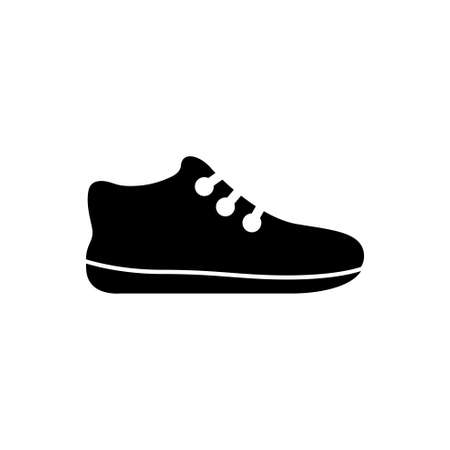 Sneakers, Tennis Shoe, Sport Footwear. Flat Vector Icon illustration. Simple black symbol on white background. Sneakers, Tennis Shoe, Sport Footwear sign design template for web and mobile UI element Stock Illustratie