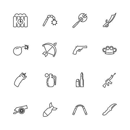 Weapon, Ammunition, Armed outline icons set - Black symbol on white background. Weapon Ammunition Armed Simple Illustration Symbol - lined simplicity Sign. Flat Vector thin line Icon - editable stroke Stockfoto - 131398747