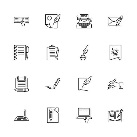 Writing, Write Poetry outline icons set - Black symbol on white background. Writing, Write Poetry Simple Illustration Symbol - lined simplicity Sign. Flat Vector thin line Icon - editable stroke Stockfoto - 133693359