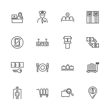 Airport Terminal, Travel outline icons set - Black symbol on white background. Airport Terminal, Travel Simple Illustration Symbol - lined simplicity Sign. Flat Vector thin line Icon - editable stroke