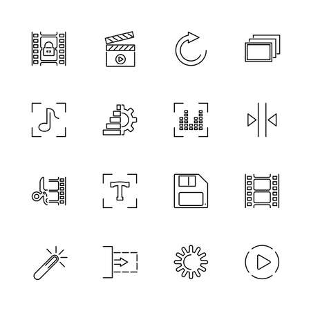 Video, Movie Editing, Film outline icons set - Black symbol on white background. Video, Movie Editing Simple Illustration Symbol - lined simplicity Sign. Flat Vector thin line Icon - editable stroke