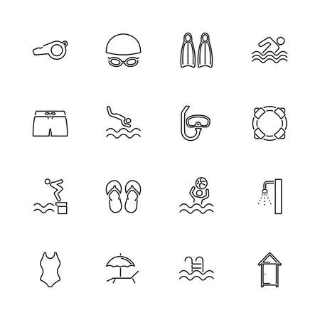 Water Pool, Swim outline icons set - Black symbol on white background. Water Pool, Swim Simple Illustration Symbol - lined simplicity Sign. Flat Vector thin line Icon - editable stroke Çizim