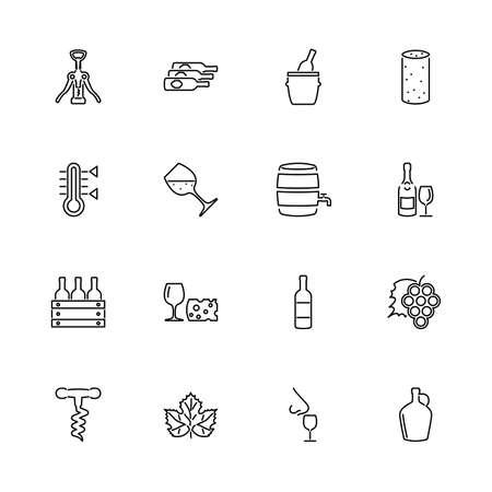 Set di icone di contorno di degustazione di vino, alcol - simbolo nero su sfondo bianco. Vino, Degustazione di alcol Illustrazione semplice Simbolo - segno semplicità foderato. Icona di linea sottile piatto vettoriale - tratto modificabile