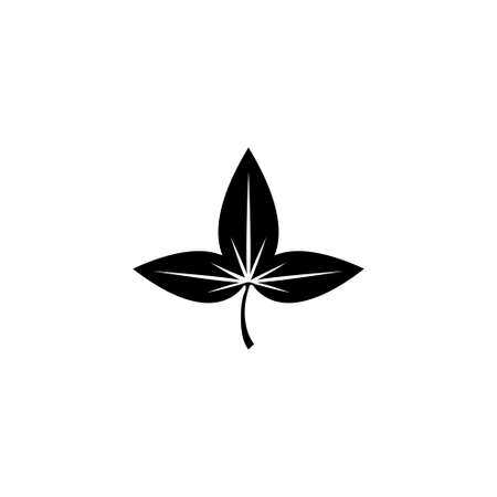 Leaf, Growth, Foliage. Flat Vector Icon illustration. Simple black symbol on white background. Leaf, Growth, Foliage sign design template for web and mobile UI element Иллюстрация