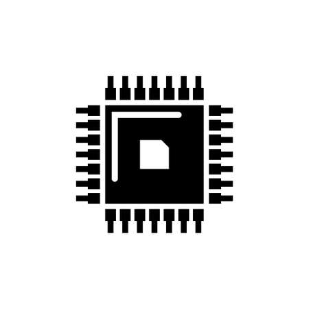 CPU Chip, Central Processing Unit. Flat Vector Icon illustration. Simple black symbol on white background. CPU Chip, Central Processing Unit sign design template for web and mobile UI element