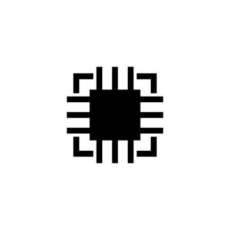 Silicon Microchip, Computer Chip. Flat Vector Icon illustration. Simple black symbol on white background. Silicon Microchip, Computer Chip sign design template for web and mobile UI element Stock Illustratie