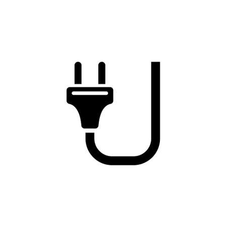 Electric Plug Cable. Flat Vector Icon illustration. Simple black symbol on white background. Electric Plug Cable sign design template for web and mobile UI element Illustration