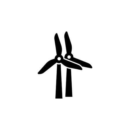 Electric Windmill, Wind Turbines. Flat Vector Icon illustration. Simple black symbol on white background. Electric Windmill, Wind Turbines sign design template for web and mobile UI element