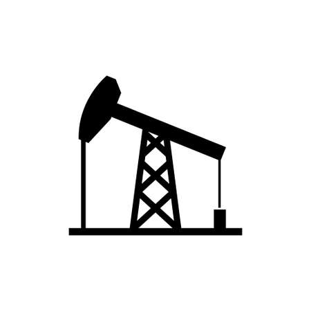 Oil Derrick, Mining Pump Tower. Flat Vector Icon illustration. Simple black symbol on white background. Oil Derrick, Mining Pump Tower sign design template for web and mobile UI element Stockfoto - 133693481