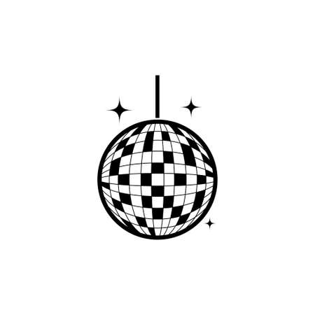 Party Mirror Disco Ball. Flat Vector Icon illustration. Simple black symbol on white background. Party Mirror Disco Ball sign design template for web and mobile UI element