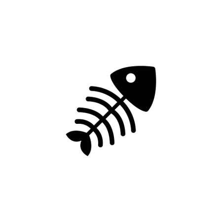 Fish Bone Skeleton. Flat Vector Icon illustration. Simple black symbol on white background. Fish Bone Skeleton sign design template for web and mobile UI element 向量圖像