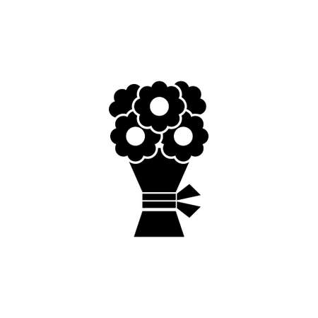 Wedding Flower Bouquet. Flat Vector Icon illustration. Simple black symbol on white background. Wedding Flower Bouquet sign design template for web and mobile UI element