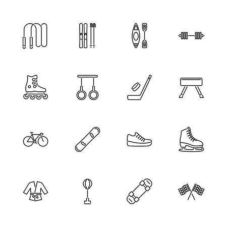 Sport, Training outline icons set - Black symbol on white background. Sport, Training Simple Illustration Symbol - lined simplicity Sign. Flat Vector thin line Icon - editable stroke