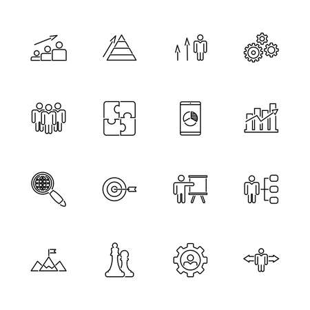 Strategy, Idea, Success outline icons set - Black symbol on white background. Strategy, Idea, Success Simple Illustration Symbol - lined simplicity Sign. Flat Vector thin line Icon - editable stroke