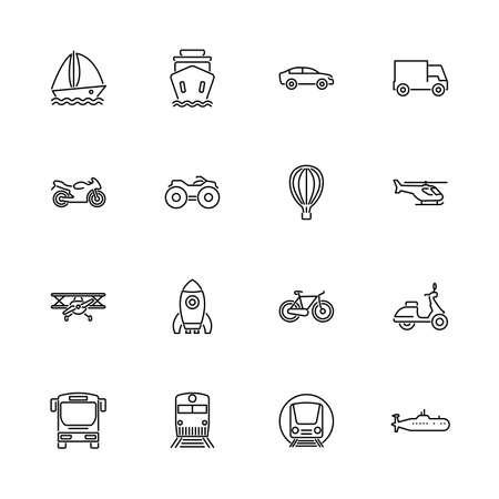 Transport, Transportation outline icons set - Black symbol on white background. Transport, Transportation Simple Illustration Symbol - lined simplicity Sign. Flat Vector thin line Icon editable stroke Çizim
