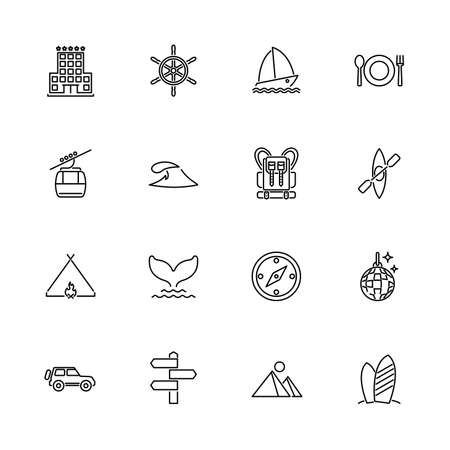 Vacation, Tourism, Travel outline icons set - Black symbol on white background. Vacation, Tourism, Travel Simple Illustration Symbol - lined simplicity Sign. Flat Vector thin line Icon editable stroke