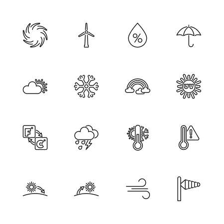 Weather Forecast, Met cast outline icons set - Black symbol on white background. Weather Forecast, Met cast Simple Illustration Symbol - lined simplicity Sign. Flat Vector thin line Icon editable stroke
