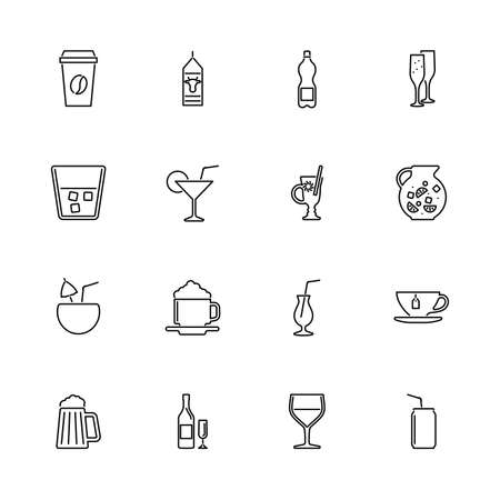 Drink, Beverages, alcohol outline icons set - Black symbol on white background. Drink, Beverages Simple Illustration Symbol - lined simplicity Sign. Flat Vector thin line Icon - editable stroke Иллюстрация