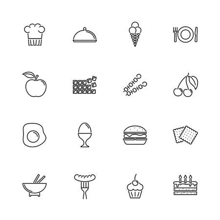 Food, Diner outline icons set - Black symbol on white background. Food, Diner Simple Illustration Symbol - lined simplicity Sign. Flat Vector thin line Icon - editable stroke