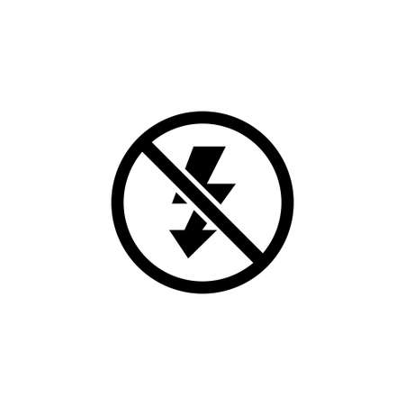 No Flash Photo, Camera Lighting Off. Flat Vector Icon illustration. Simple black symbol on white background. No Flash Photo, Camera Lighting Off sign design template for web and mobile UI element Stockfoto - 132331266