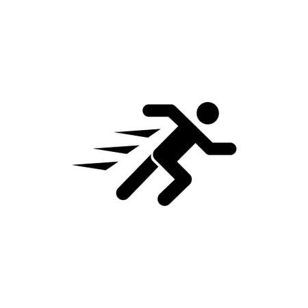 Running Man, Fast Runner Person. Flat Vector Icon illustration. Simple black symbol on white background. Running Man, Fast Runner Person sign design template for web and mobile UI element Illusztráció