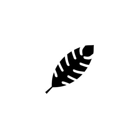 Tropic Fern Leaf, Palm Plant. Flat Vector Icon illustration. Simple black symbol on white background. Tropic Fern Leaf, Palm Plant sign design template for web and mobile UI element