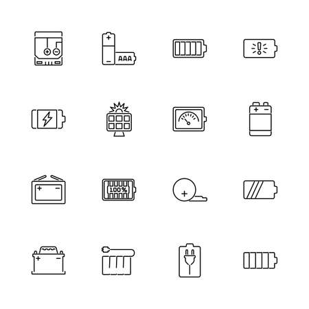 Battery, Accumulator outline icons set - Black symbol on white background. Battery, Accumulator Simple Illustration Symbol - lined simplicity Sign. Flat Vector thin line Icon - editable stroke