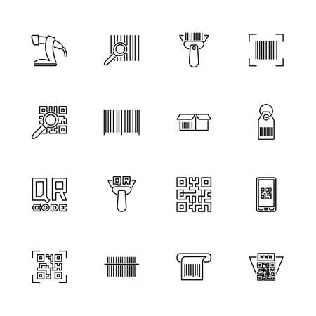 Check, Bar, Qr Code Scan contour icons set - Symbole noir sur fond blanc. Chèque, barre, symbole d'illustration simple de balayage de code Qr - signe de simplicité doublé. Icône de fine ligne de vecteur plat - trait modifiable