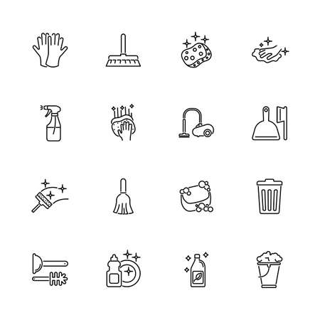 Cleaning, Clean House outline icons set - Black symbol on white background. Cleaning, Clean House Simple Illustration Symbol - lined simplicity Sign. Flat Vector thin line Icon - editable stroke