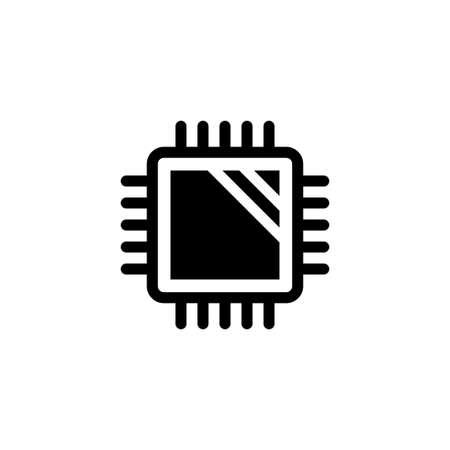 Procesadores de computadora central, CPU Microchip. Ilustración de icono de Vector plano. Símbolo simple negro sobre fondo blanco. Procesadores informáticos centrales, plantilla de diseño de señal de CPU para elemento de interfaz de usuario web y móvil Ilustración de vector