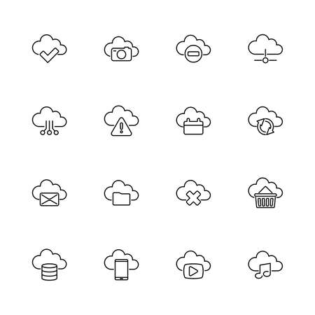 Computing Cloud, Storage outline icons set - Black symbol on white background. Computing Cloud, Storage Simple Illustration Symbol - lined simplicity Sign. Flat Vector thin line Icon - editable stroke