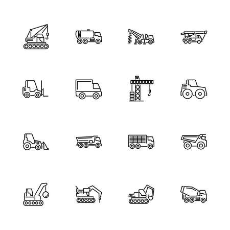 Construction Vehicles Car outline icons set - Black symbol on white background. Construction Vehicles Car Simple Illustration Symbol - lined simplicity Sign. Flat Vector thin line Icon editable stroke
