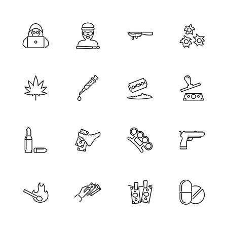 Crime, Criminal Mafia outline icons set - Black symbol on white background. Crime, Criminal Mafia Simple Illustration Symbol - lined simplicity Sign. Flat Vector thin line Icon - editable stroke