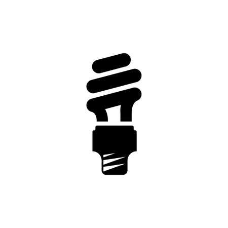 Spiral Fluorescent Eco Lightbulb. Flat Vector Icon illustration. Simple black symbol on white background. Sea Wave, Tsunami Water Waves sign design template for web and mobile UI element