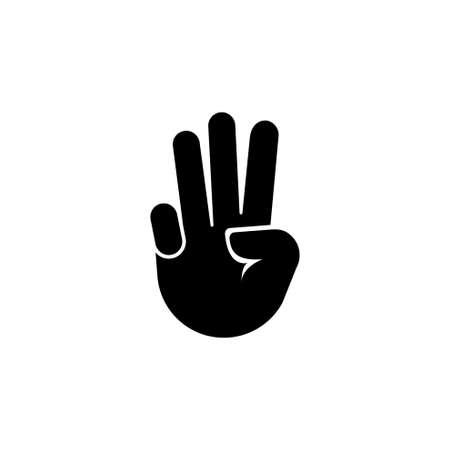 Main avec trois doigts vers le haut, geste. Illustration d'icône de vecteur plat. Symbole noir simple sur fond blanc. Main avec trois doigts vers le haut, modèle de conception de signe de geste pour l'élément d'interface utilisateur Web et mobile