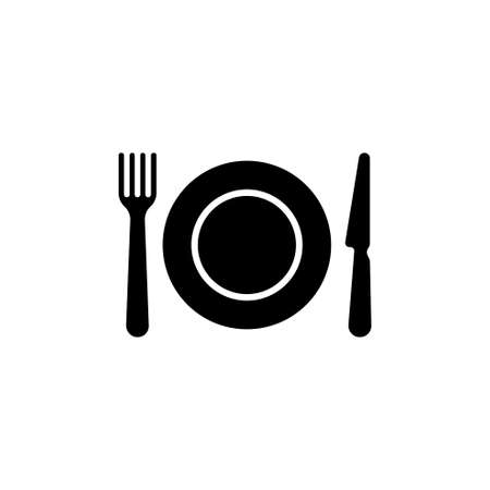 Kitchen Cutlery, Plate Fork and Knife. Flat Vector Icon illustration. Simple black symbol on white background. Kitchen Cutlery, Plate Fork and Knife sign design template for web and mobile UI element Çizim