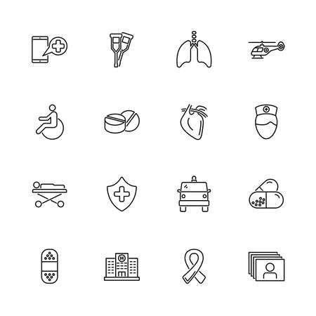 Medical Transportation, Aid outline icons set - Black symbol on white background. Medical Transportation Simple Illustration Symbol - lined simplicity Sign. Flat Vector thin line Icon editable stroke
