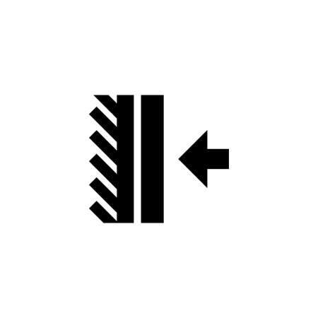 Gluing Adhesive, Press Down Material. Flat Vector Icon illustration. Simple black symbol on white background. Gluing Adhesive, Press Down Material sign design template for web and mobile UI element