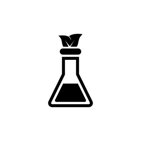 Lab flask with Leaf Inside, Experiment. Flat Vector Icon illustration. Simple black symbol on white background. Lab flask with Leaf Inside Experiment sign design template for web and mobile UI element