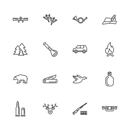 Animal Hunting, Hunt Equipment outline icons set - Black symbol on white background. Animal Hunting, Hunt Simple Illustration Symbol - lined simplicity Sign. Flat Vector thin line Icon editable stroke  イラスト・ベクター素材