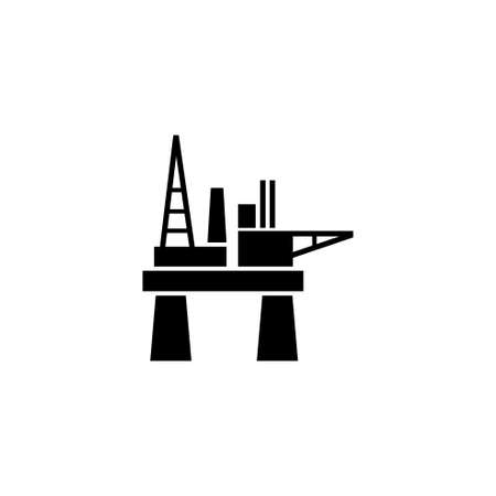 Oil Offshore Platform, Floating Oil Rig. Flat Vector Icon illustration. Simple black symbol on white background. Oil Offshore Platform, Floating Rig sign design template for web and mobile UI element