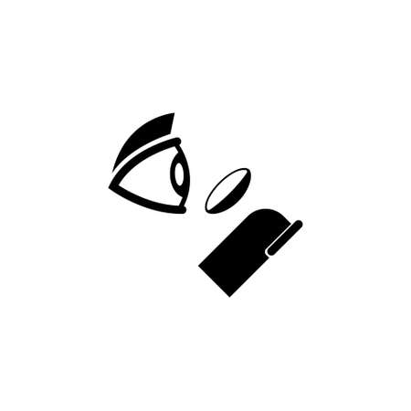 How to Put On Contact Lenses. Flat Vector Icon illustration. Simple black symbol on white background. How to Put On Contact Lenses sign design template for web and mobile UI element