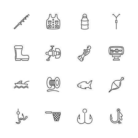 Fishing Equipment, Activity outline icons set - Black symbol on white background. Fishing Equipment Simple Illustration Symbol - lined simplicity Sign. Flat Vector thin line Icon - editable stroke Ilustración de vector