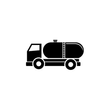 Truck Auto Barrel, Oil Transportation. Flat Vector Icon illustration. Simple black symbol on white background. Truck Auto Barrel, Oil Transportation sign design template for web and mobile UI element