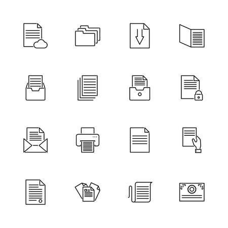 Paper Documents, Doc Folder outline icons set. Black symbol on white background. Paper Documents Doc Folder Simple Illustration Symbol lined simplicity Sign. Flat Vector thin line Icon editable stroke Vettoriali