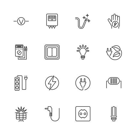 Electricity, Electrification outline icons set - Black symbol on white background. Electricity, Voltage Simple Illustration Symbol - lined simplicity Sign. Flat Vector thin line Icon - editable stroke